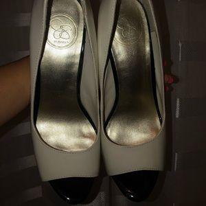Jessica Simpson Shoes - White & black, snakeskin pumps